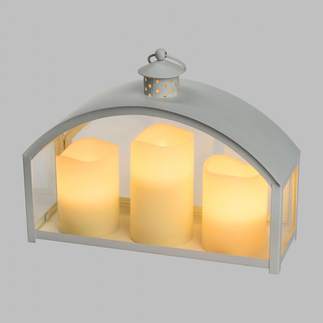 Luci Da Esterno Lanterna bianca in Metallo e Vetro con 3 candele LED bianco caldo, h 23.5 cm, telecomando