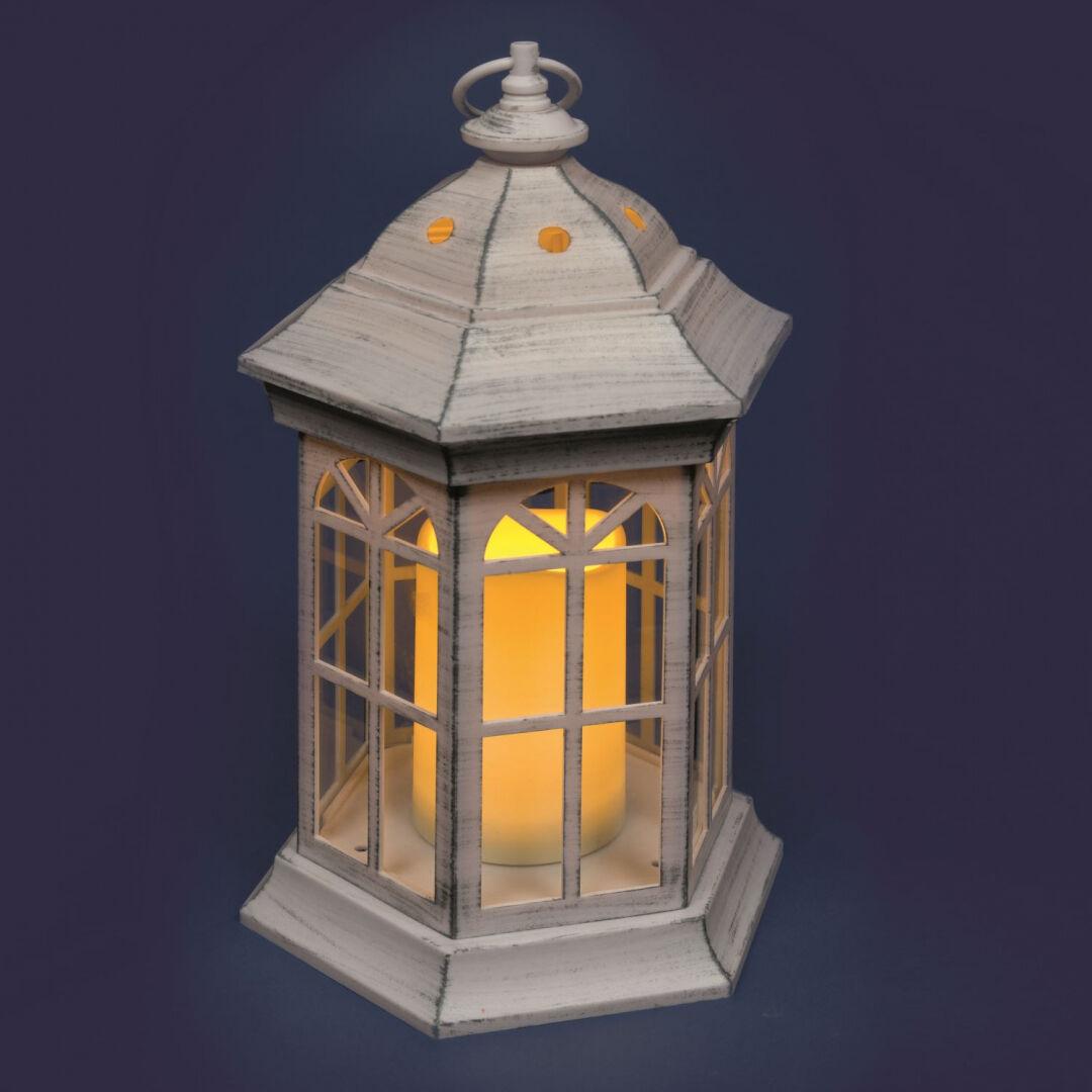 Luci Da Esterno Lanterna retrò bianco antico con candela led bianco caldo h 37,5 cm