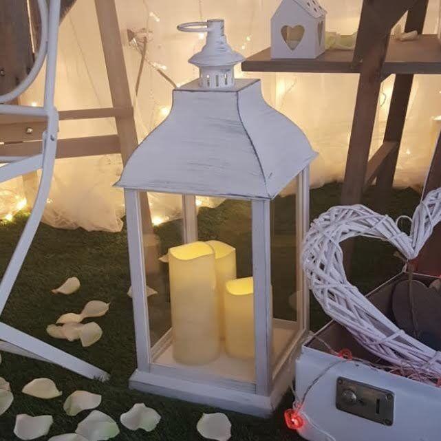 Luci Da Esterno Lanterna Bianco Antico con 3 Candele LED effetto fiamma bianco caldo h 54 cm