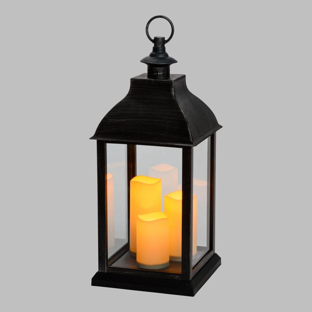 Luci Da Esterno Lanterna Colore Nero Antico con 3 Candele LED, effetto fiamma bianco caldo, h 54 cm