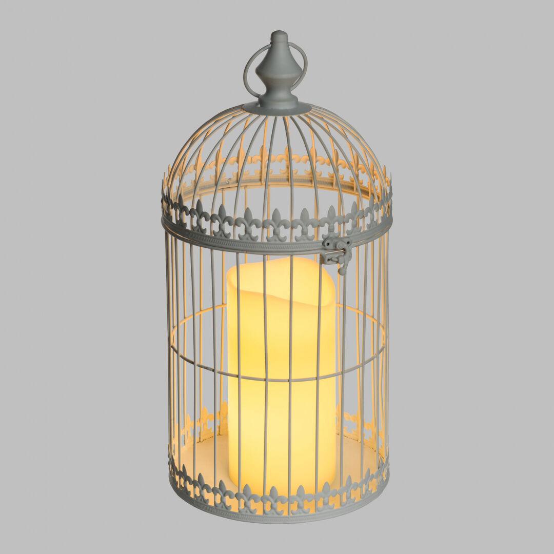 Luci Da Esterno Lanterna Gabbia in Metallo Bianco con Candela LED bianco caldo, h 43 cm, Telecomando, Timer