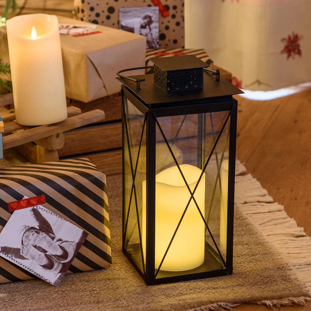Luci Da Esterno Lanterna nera in Metallo e Vetro con Candela LED bianco caldo, h 34 cm, Telecomando, Timer