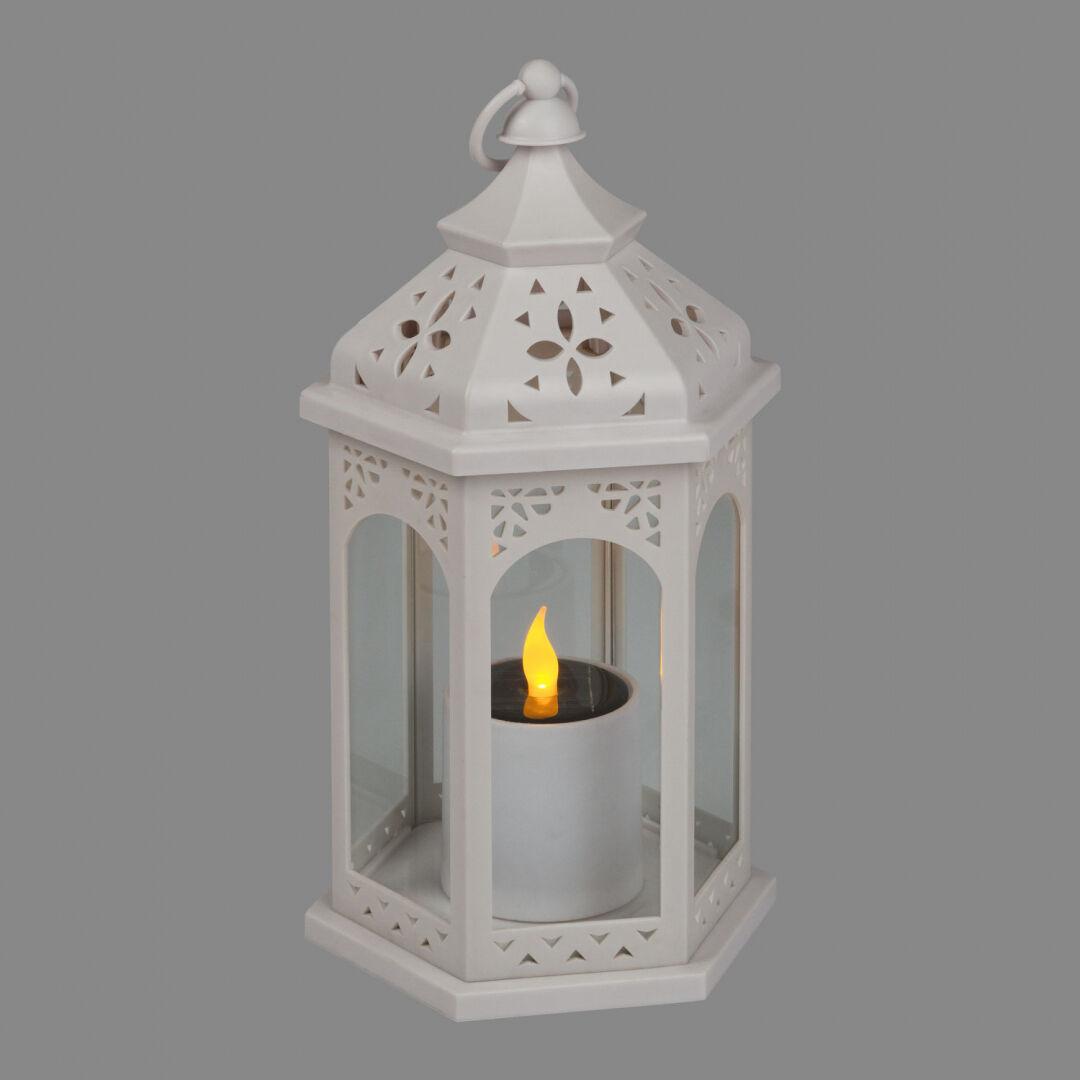 Luci Da Esterno Lanterna solare bianca con candela led effetto fiamma, giallo
