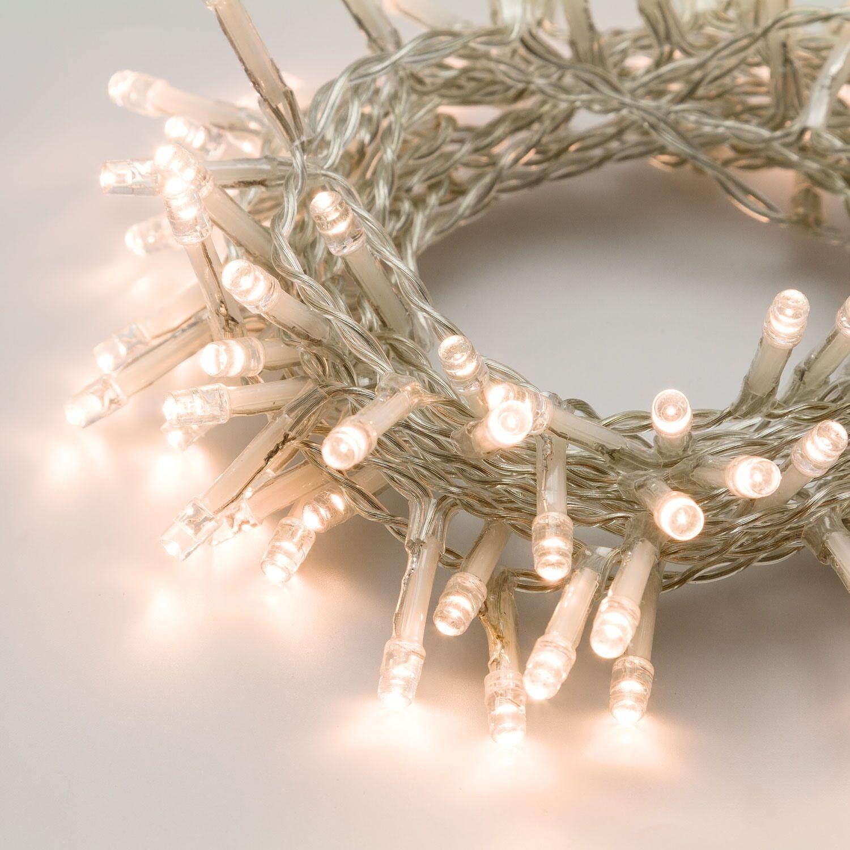 Luci Da Esterno Catena 25 m, 500 LED Bianco caldo, cavo Bianco, non prolungabile