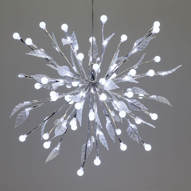 Luci Da Esterno Ramo decorato con sfere e foglie, led bianco freddo