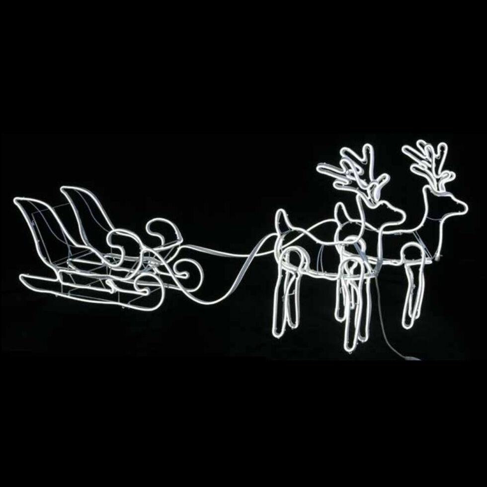 Luci Da Esterno Renne luminose con slitta con effetto neon bifacciale, h 46 cm, LED bianco freddo