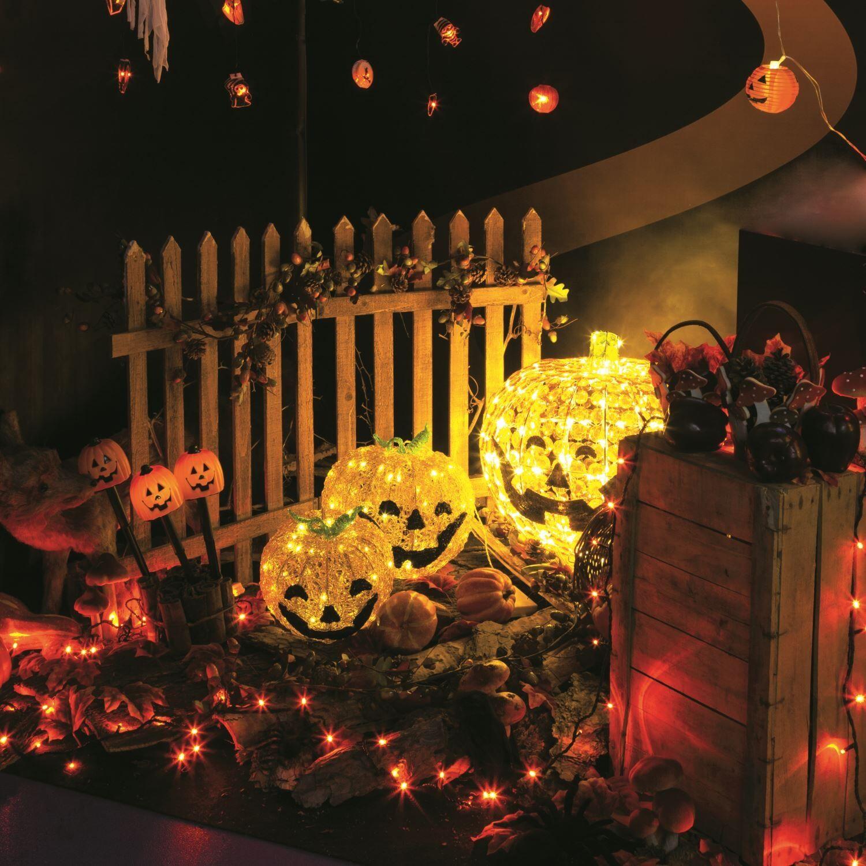 Luci Da Esterno Zucca Halloween 3D, 48 LED a Luce Fissa, h 22 cm