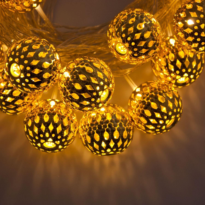 Luci Da Esterno Catena 6 m, 24 Sfere in metallo con LED Oro, Luce Fissa