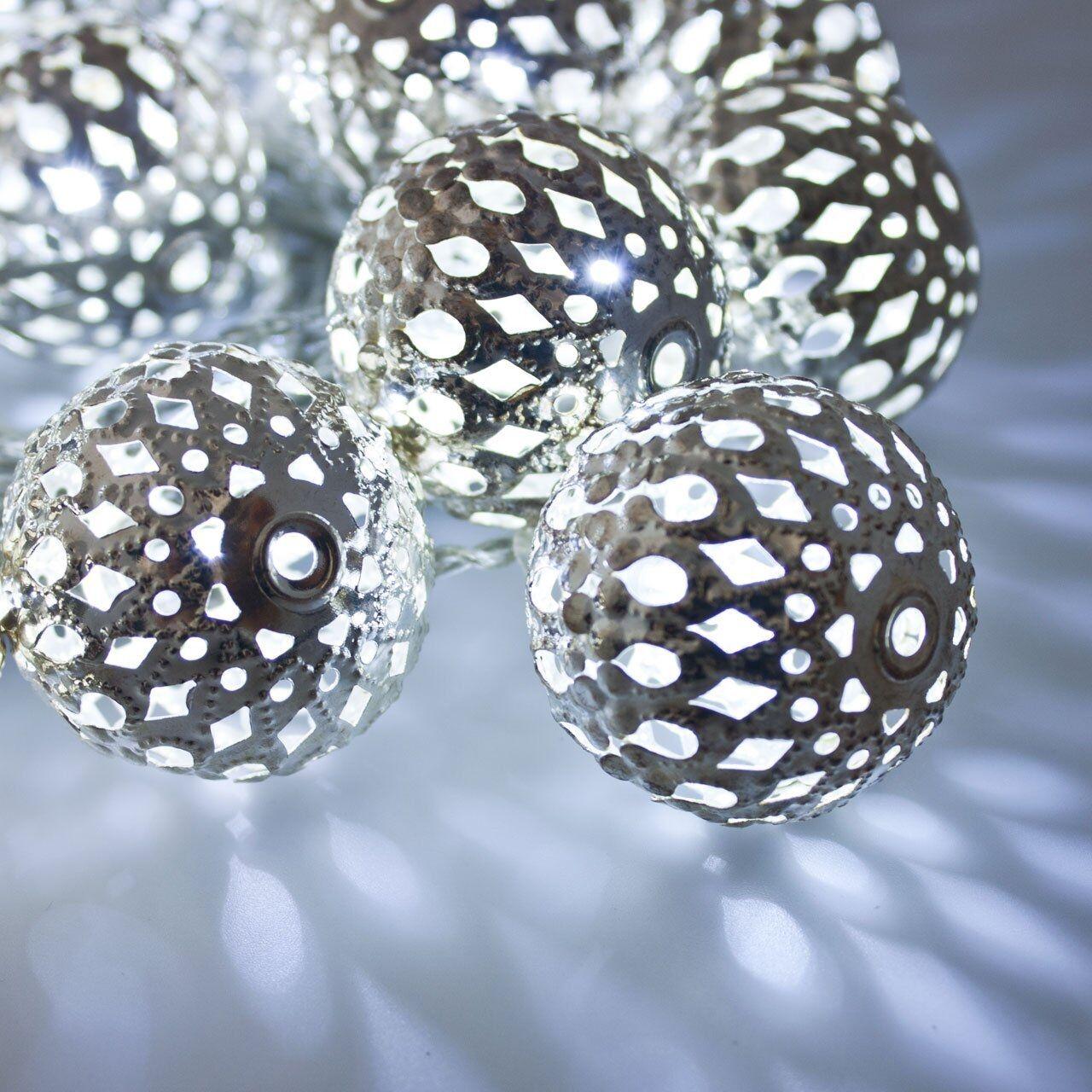 Luci Da Esterno Catena 6 m, 24 Sfere in metallo con LED Argento, Luce Fissa