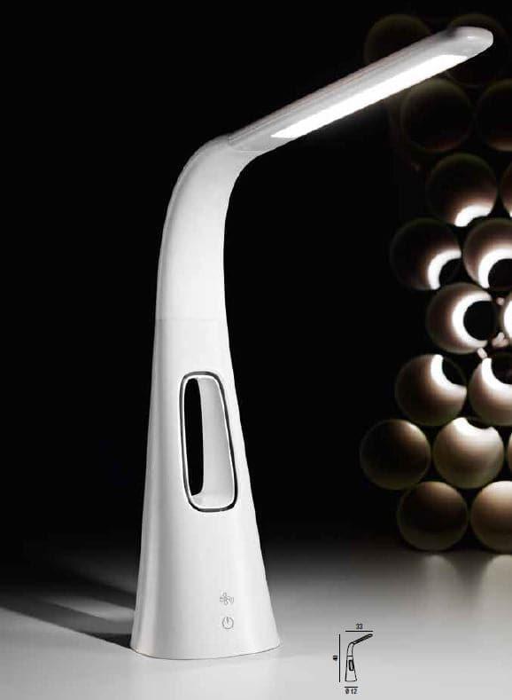 Perenz Lampada da tavolo flex in plastica colore bianco con ventilatore a tre velocità