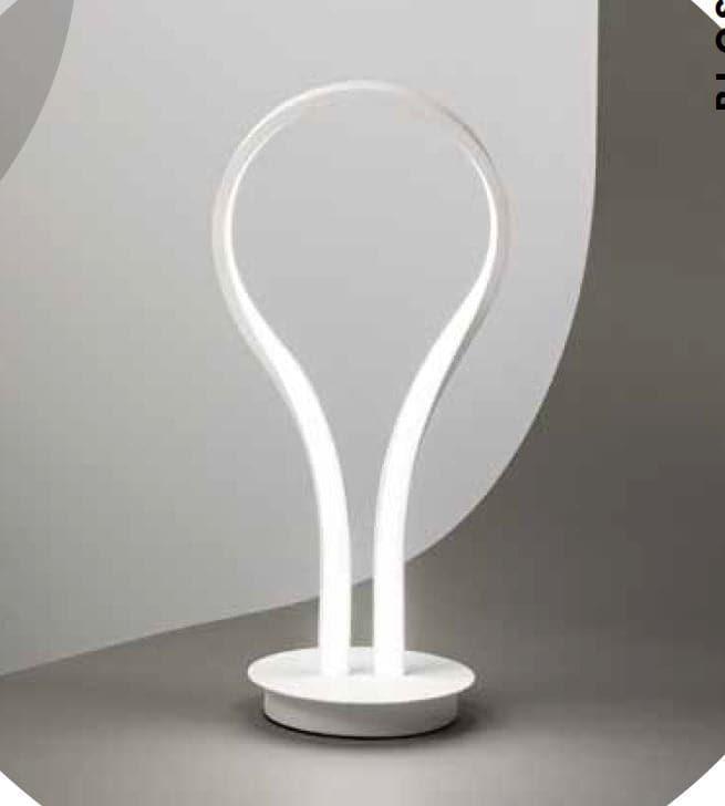 Perenz Lampada da tavolo in metallo e alluminio verniciato bianco