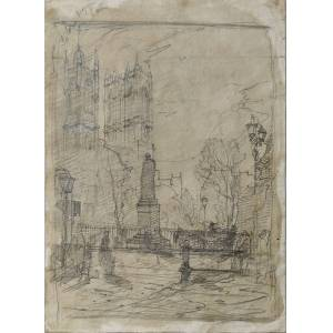 Londra: l'Abbazia di Westminster con la Torre Vittoria della Camera dei Lord, 1866 Antonio Fontanesi (Reggio Emilia 1818 – Torino 1882) [Ottimo]