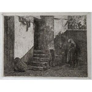 Cortile ligure Antonio Fontanesi (Reggio Emilia 1818 – Torino 1882) [Ottimo]