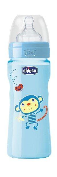 chicco biberon well being colorato in polipropilene boy da 330 ml fast silicone