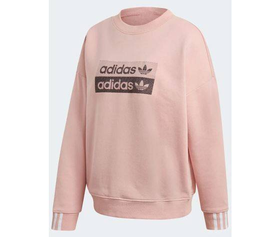 adidas felpa  rosa logo nero sweatshirt abbigliamento donna art. ec0746