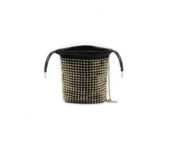 art borsa  borsa secchiello in simil pelle con elastico e borchie nero gold art.sa020149 0129