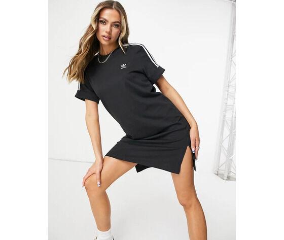 Adidas Vestito Donna Nero Con Strisce Bianche Maniche Risvolto Roll-Up Adicolor Art. Gn2777