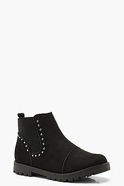 boohoo Brogue Style Studded Chelsea Boots