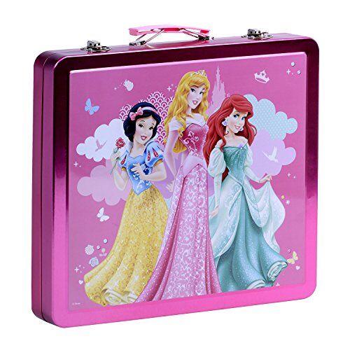 Disney Set valigetta colori Disney Biancaneve, Aurora e Ariel - Colori e accessori per colorare e dipingere - valigetta in metallo