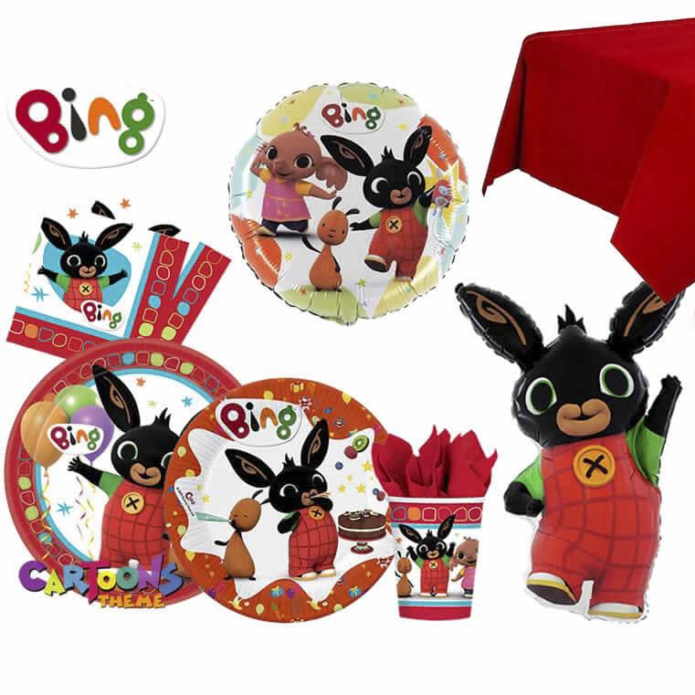 Kit Festa Bing per Festa a Tema coniglietto Bing con tovaglia rossa per 8 invitati