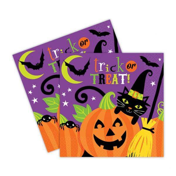 Tovaglioli Halloween di carta 33cm per festa a tema Halloween 8pz