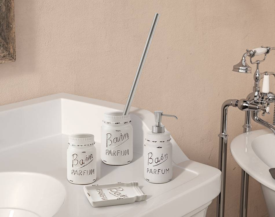 Gedy Set accessori bagno da appoggio bianco (4 pezzi) serie Catherine Gedy