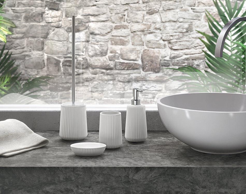 Gedy Set accessori bagno da appoggio bianco (4 pezzi) serie Marika Gedy