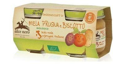 Alce Nero Spa Omogeneizzato Mela Prugna E Biscotto Baby Food Bio 2 X 80 G