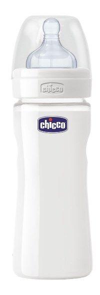 Chicco Biberon Well Being In Vetro Non Decoratorato Da 240 Ml Normal Silicone