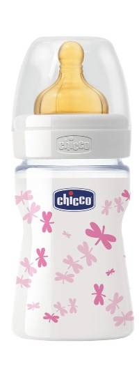 Chicco Biberon Well Being In Vetro Decorato Girl Da 150 Ml Normal Lattice