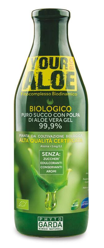 phyto garda srl your aloe bio puro succo con polpa di aloe vera gel 99,9% 1 litro senza aloina