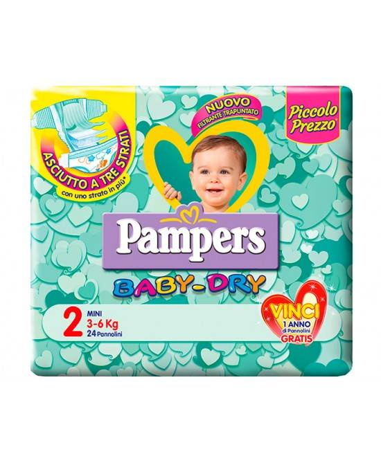 Fater Spa Pampers Baby Dry Downcount No Flash Mini Misura 2 (3-6kg) 24 Pannolini