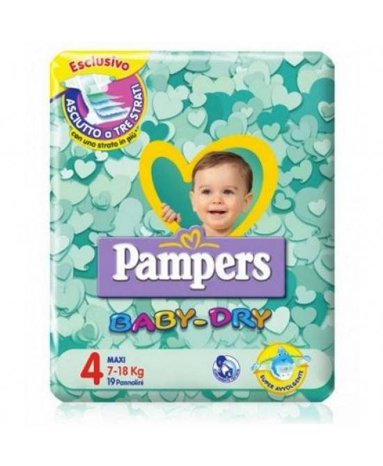 Fater Spa Pampers Baby Dry Downcount No Flash Maxi - Taglia 4 (7-18kg) 19 Pannolini