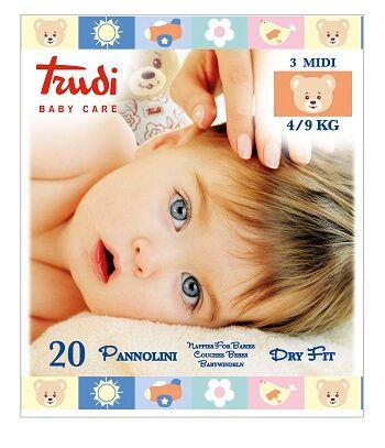 Silc Spa Trudi Baby Care Pannolini Dry Fit Midi 4/9 Kg 20 Pezzi