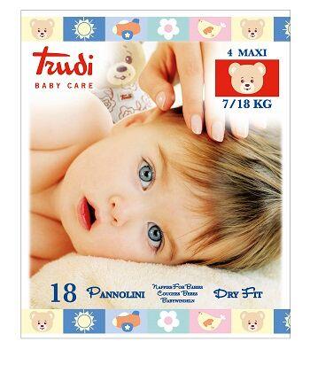 Silc Spa Trudi Baby Care Pannolino Dry Fit Maxi 7/18 Kg 18 Pezzi