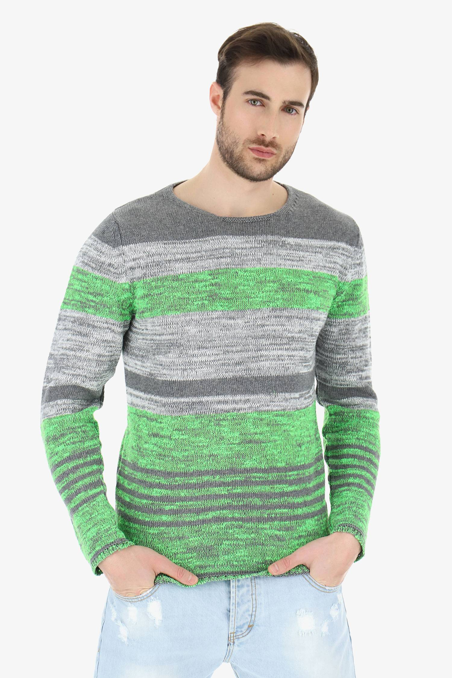 Imperial Maglione Mã©lange A Righe Verde Fluo M