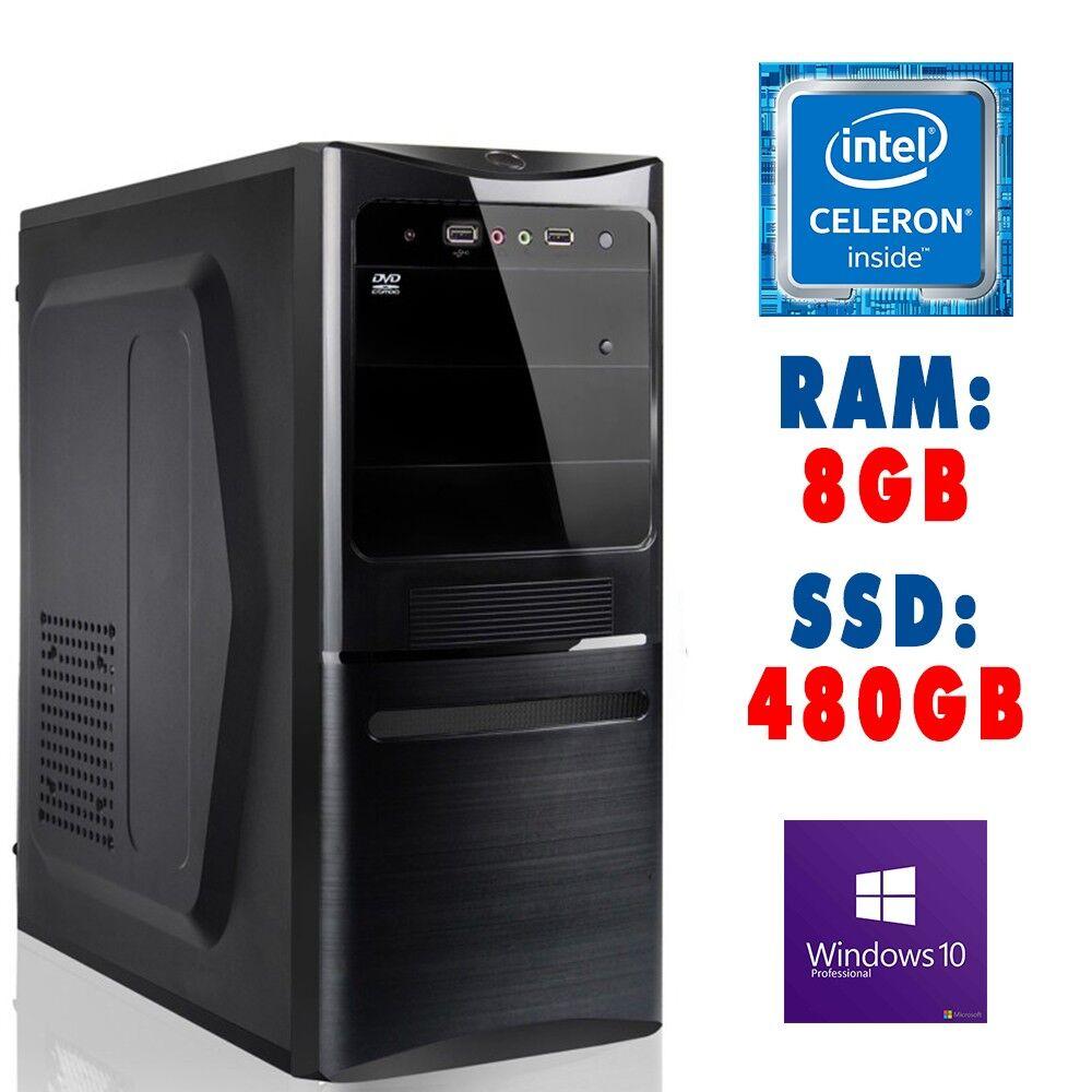 ASSEMBLATI ★ Computer Assemblato Intel Celeron J3355 Ram 8GB SSD 480GB DVD-RW USB 3.0 HDMI WIN 10