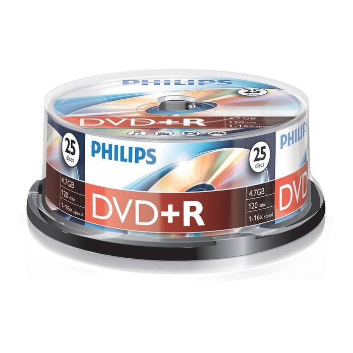 Philips DVD+R 4,7GB 16x spindle (25pzz)