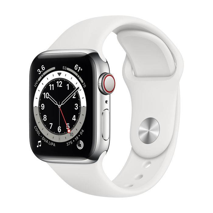 Apple Watch Series 6 GPS+Cellular 40mm in acciaio - Sport Bianco