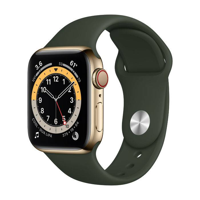 Apple Watch Series 6 GPS+Cellular 40mm in acciaio oro - Sport Verde inverness