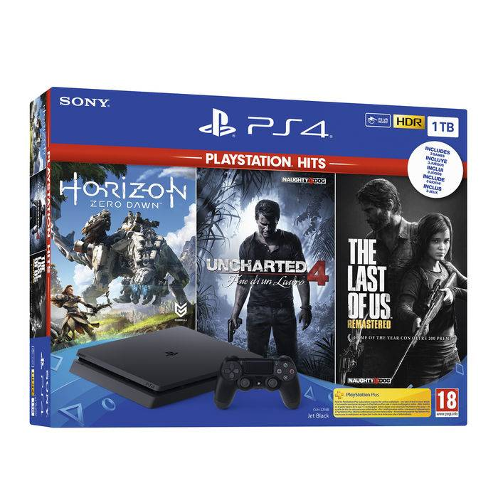 Sony PS4 1TB + Horizon Zero Dawn + Uncharted 4: A Thiefs End + The Last of Us