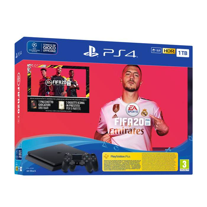 Sony PS4 BLACK 1TB + FIFA20 + DS4
