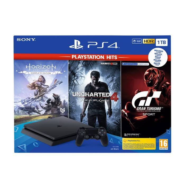 Sony PS4 1TB + Horizon Zero Dawn + Uncharted 4: A Thiefs End + GT Sport