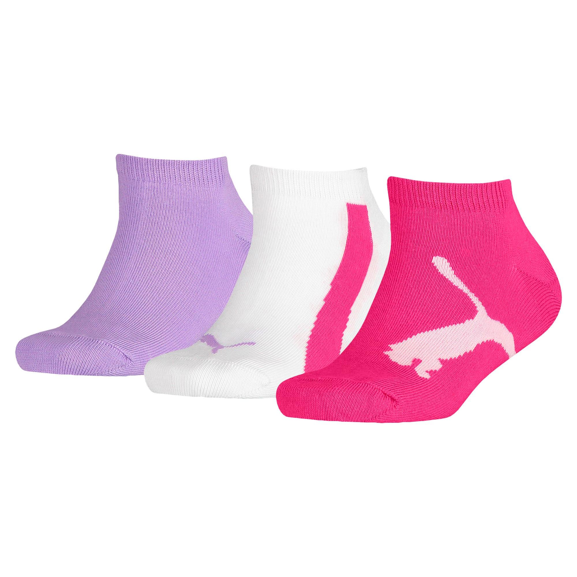 PUMA Kids' Lifestyle Trainer Socks 3 Pack, Bianco/Viola, Taglia 35-38