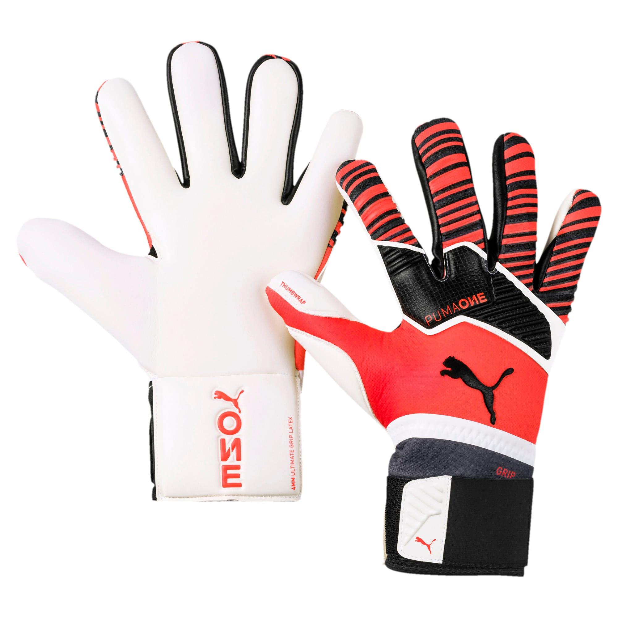 PUMA One Grip 1 Hybrid Pro Goalkeeper Gloves, Nero/Rosso/Bianco, Taglia 7