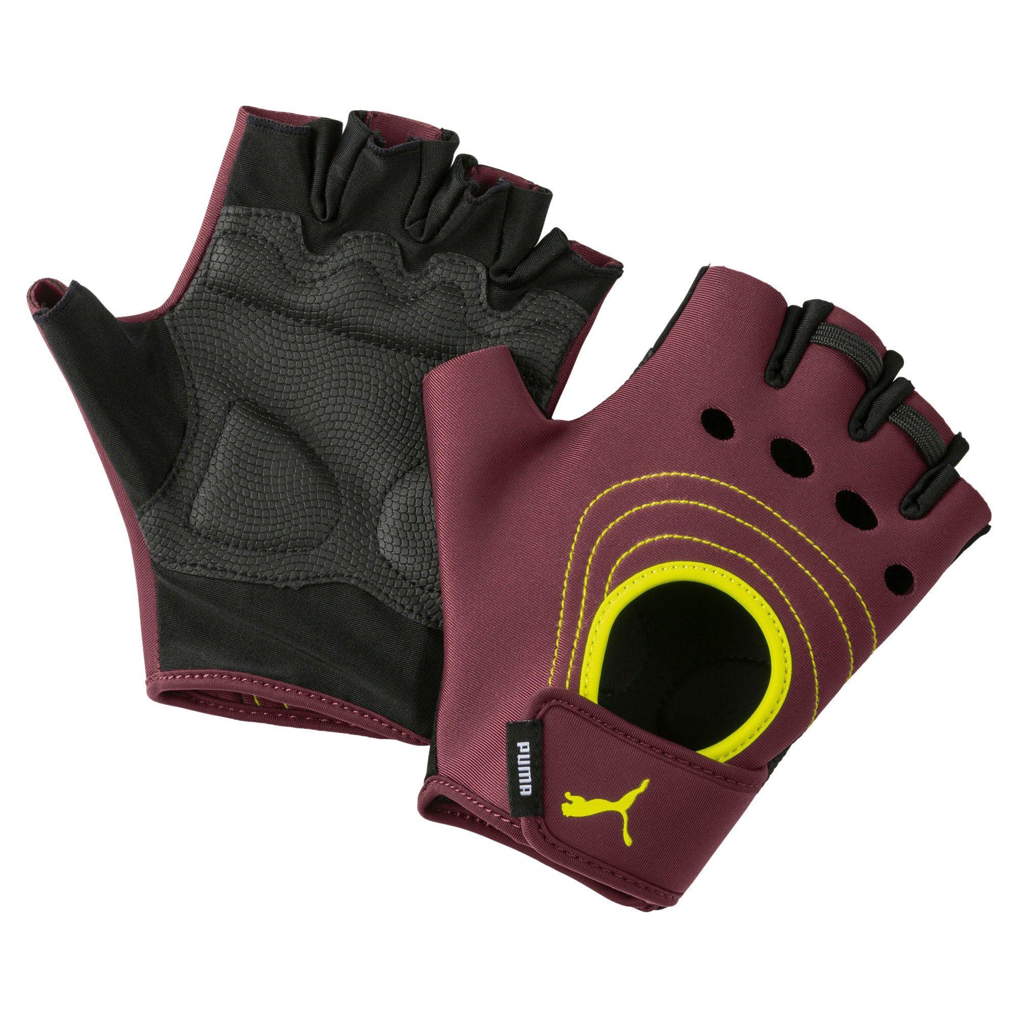 PUMA AT Women's Training Fingered Gloves, Rosso/Giallo, Taglia Piccolo