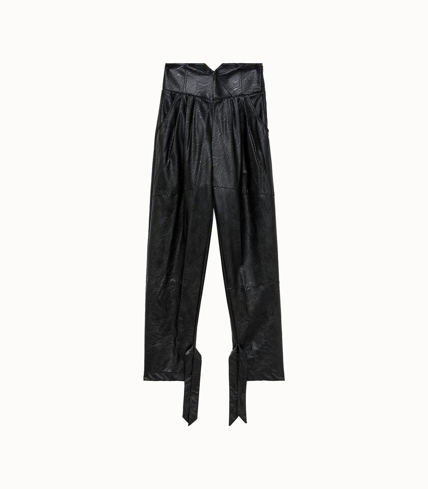 ainea pantalone in ecopelle nero