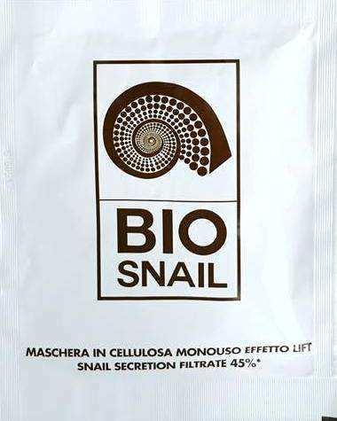bio + snail maschera viso effetto lift bava di lumaca 45% in cellulosa monouso 1 maschera monouso in cellulosa da 18 ml