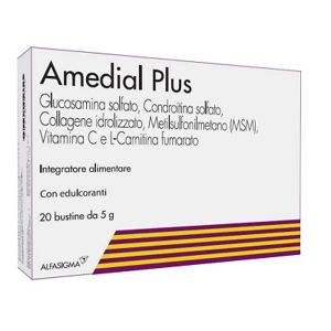 Alfasigma Spa Amedial Plus - Glucosamina E Condroitina Solfato Con Msm E Collagene Astuccio Con 20 Bustine Da 5 G Cad