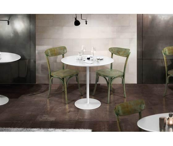 Tavolino Bar Rotondo Diametro Cm. 80 H. 75  In Mdf Bianco Opaco E Base In Metallo Bianco Opaco